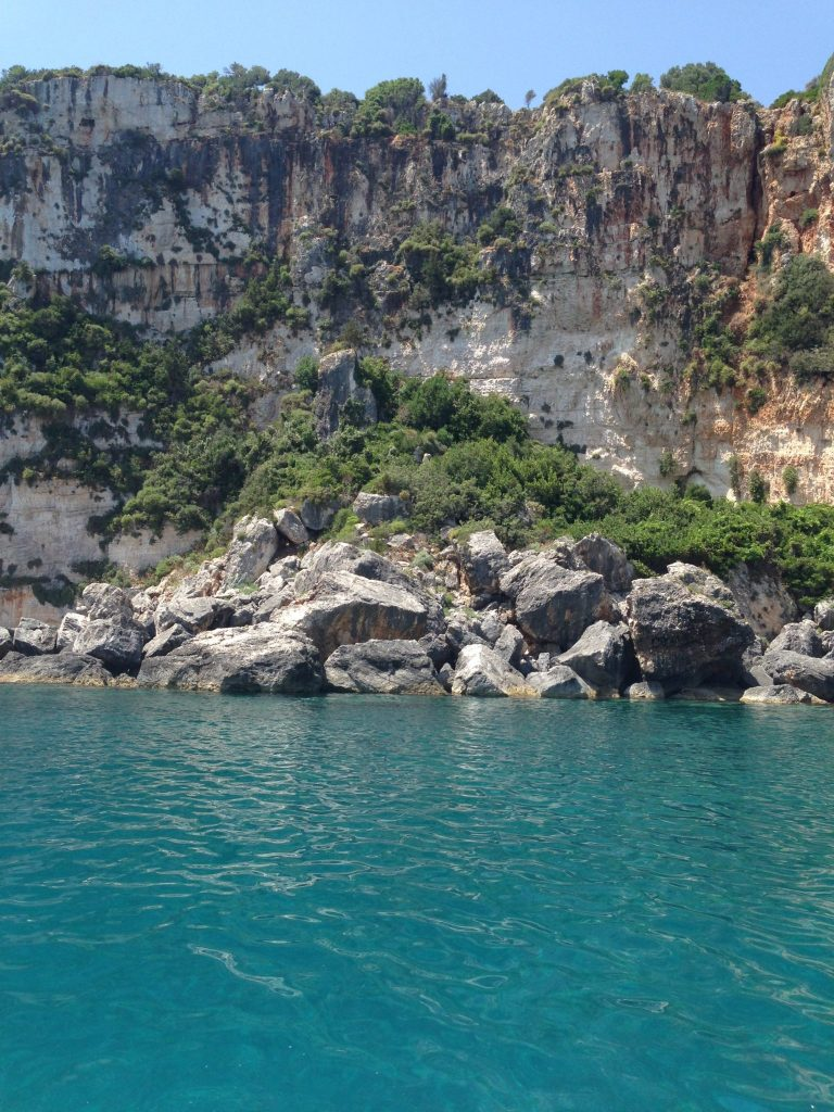 Heading towards the Blue Caves in Zakynthos island, Greece. Crystal clear waters.
