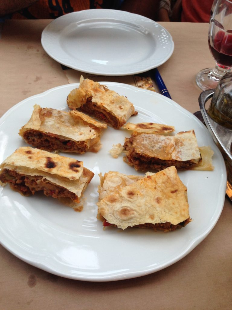 Meat pie with graviera cheese in homemade filo