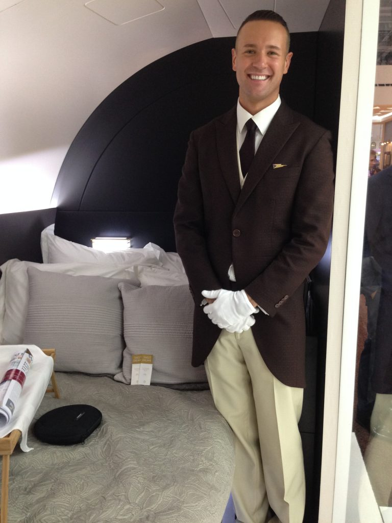Personal butler Thomas shows me to my bedroom in The Residence on Etihad Airways