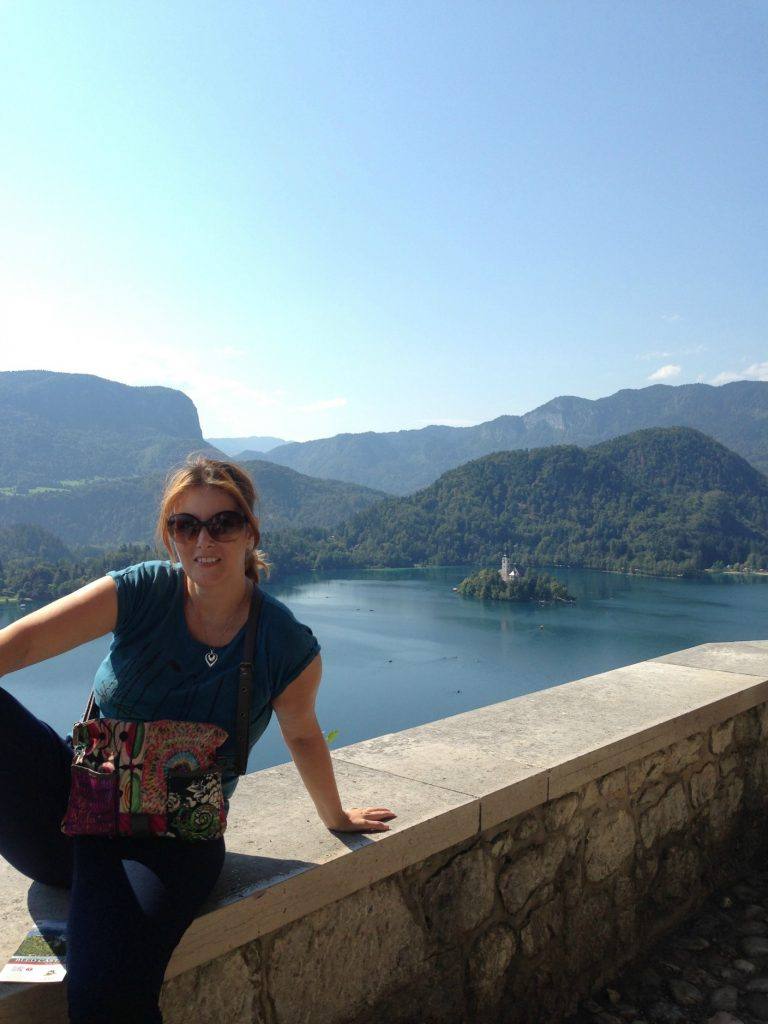 Sitting at Lake Bled castle, looking down to the Lake Bled island