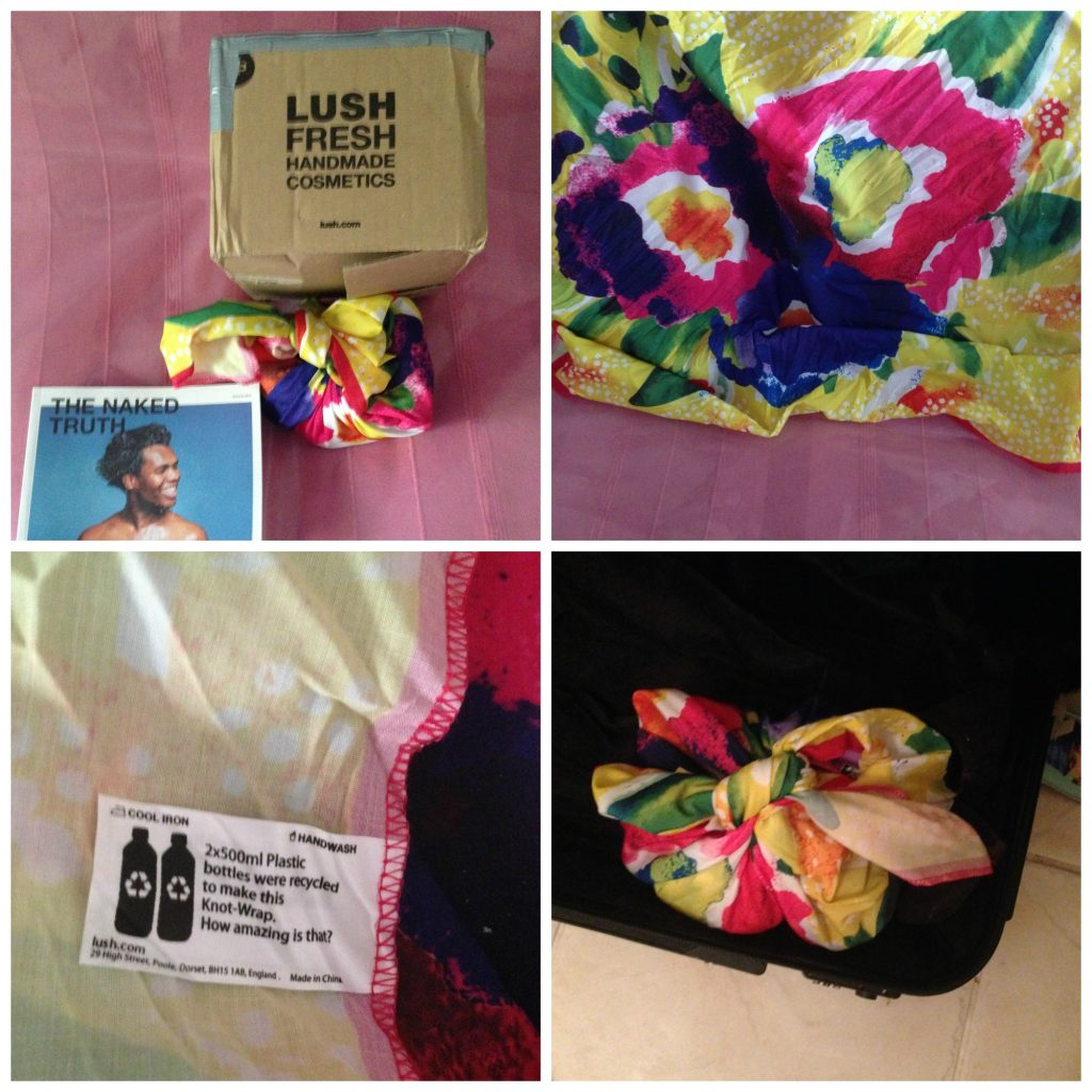 LUSH products packaged up in headscarf made from recycled materials - and can double up to hold your toiletries in your case!