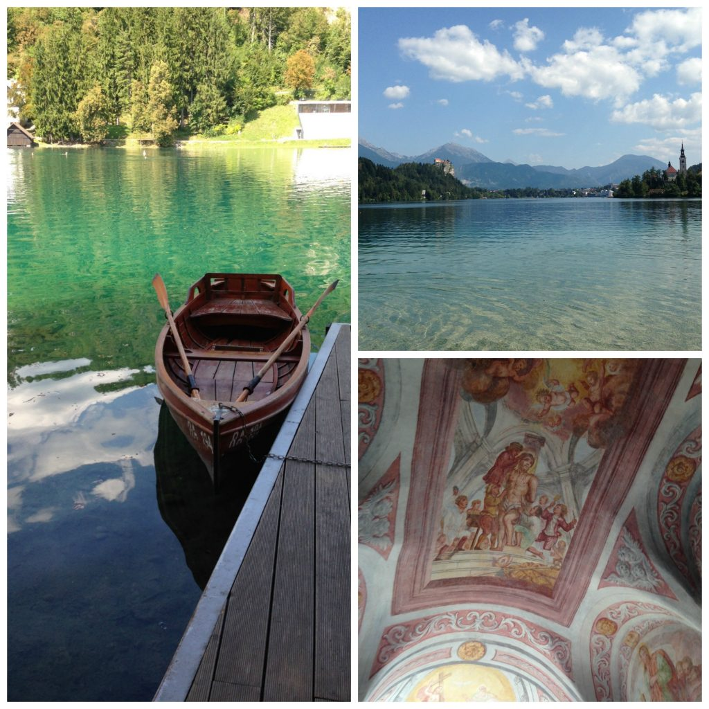 Canoes for hire, the beautiful view and gorgeous fresco on the ceiling of the chapel in Bled Castle