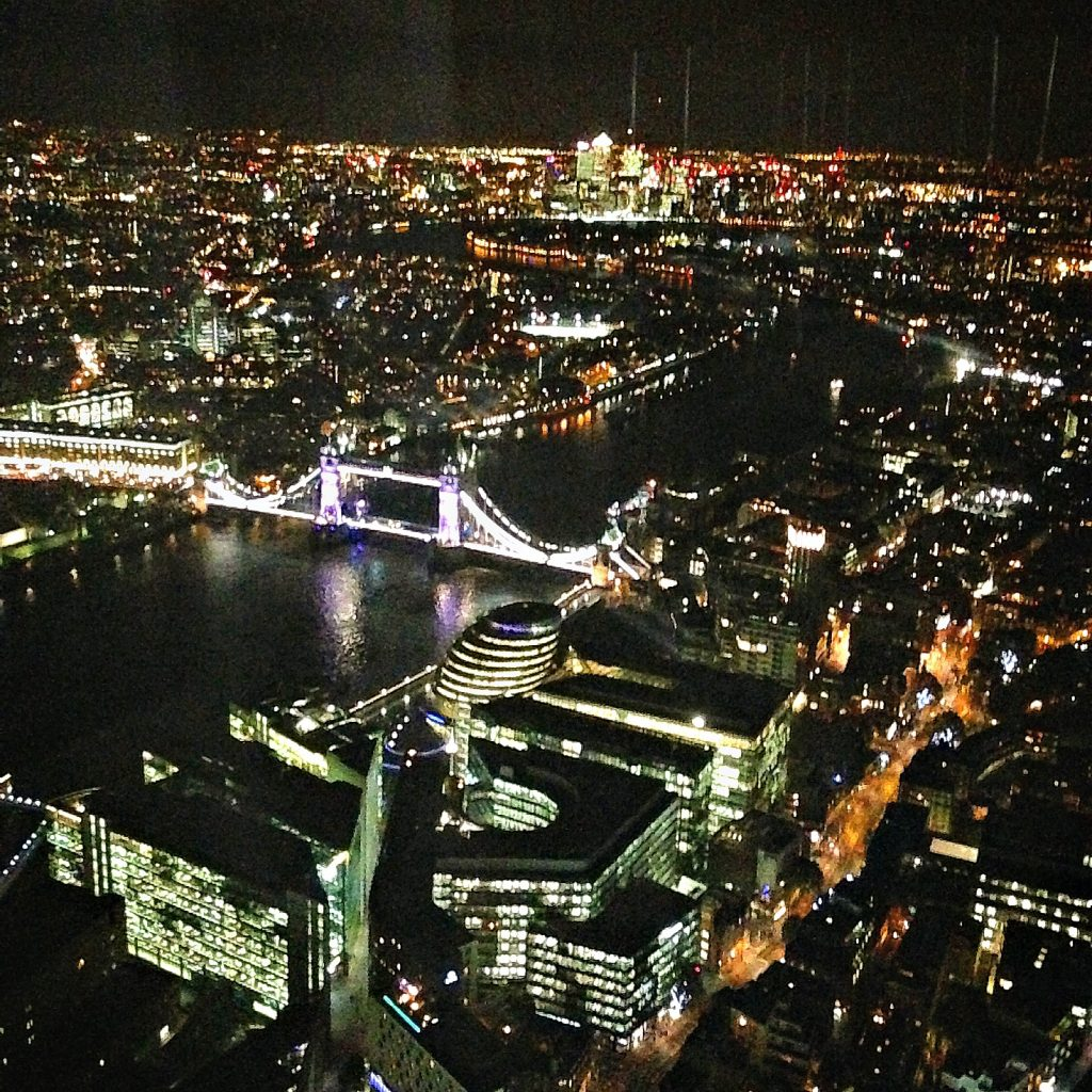 London at night from The Shard