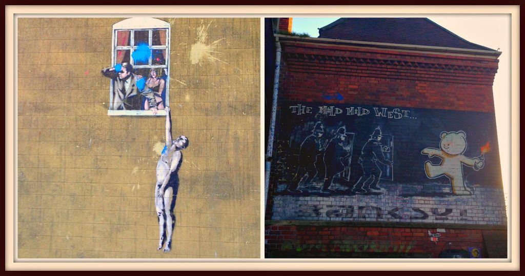 Some of Banksy's artwork around Bristol city