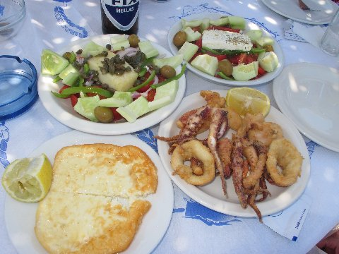 Saganaki, salad & squid