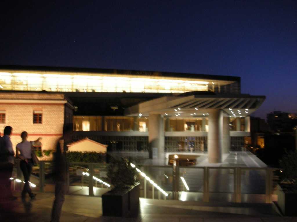 Outside the Acropolis Museum at night