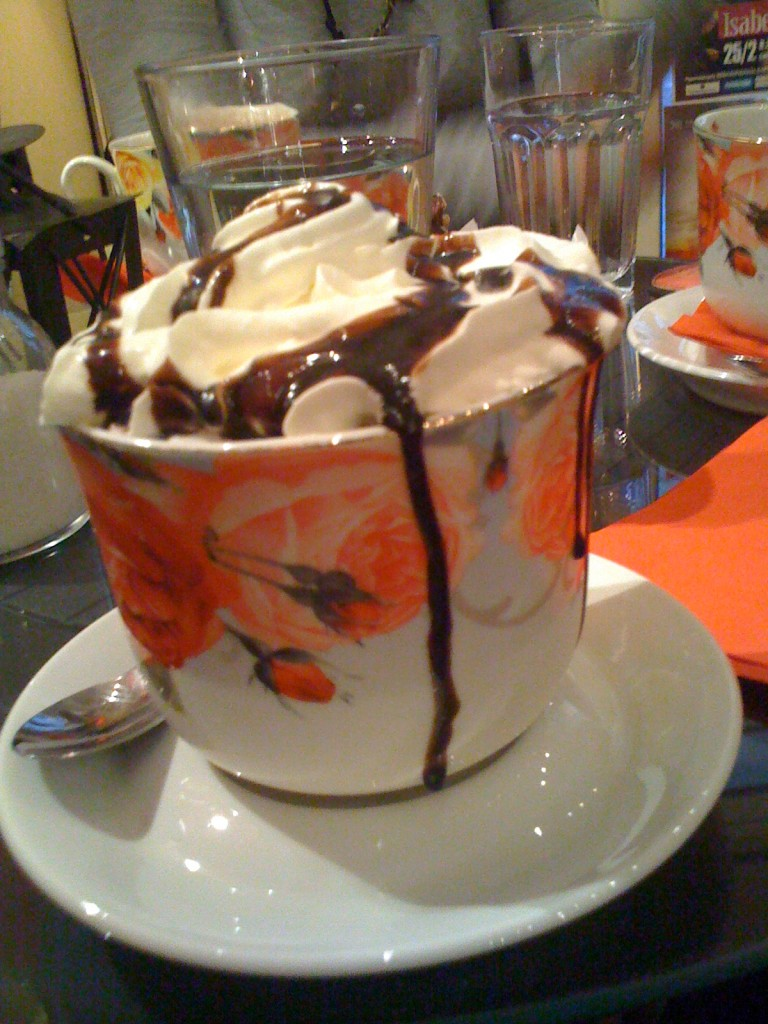 Why not drink a hot chocolate in Cafe Mon Cheri, Kolonaki?
