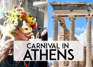 "Apokries - Carnival time in Athens, Greece. Better than Venice and Rio! Come and celebrate carnival in Athens, Greece. ""Metaxourgeio Carnival"" (CC BY 2.0) by Meta Lands and Acropolis image by Anestiev"