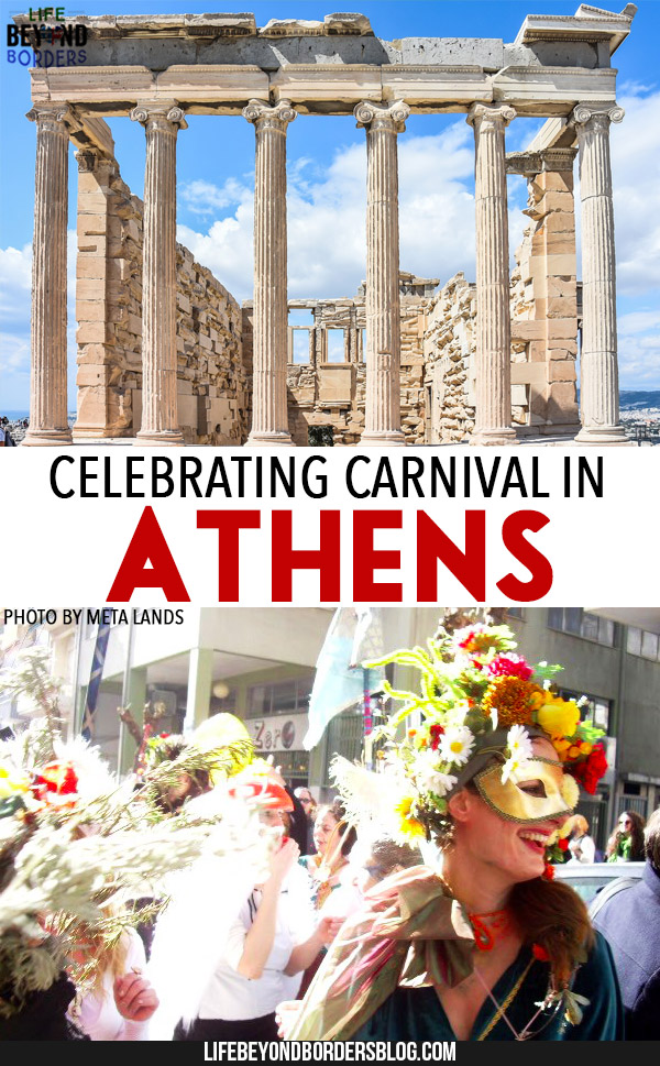 "Come and celebrate carnival in Athens, Greece. ""Metaxourgeio Carnival"" (<a href=""https://creativecommons.org/licenses/by/2.0/"" target=""_blank"" rel=""license noopener noreferrer"">CC BY 2.0</a>) by <a href=""https://www.flickr.com/people/metaxourgeio/"" target=""_blank"" rel=""cc:attributionURL noopener noreferrer"">Meta Lands</a> and Acropolis image by<a href=""https://pixabay.com/en/acropolis-athens-greece-ancient-2725918/"" target=""_blank"" rel=""noopener noreferrer""> Anestiev</a>"
