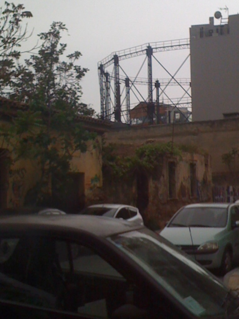 Old gas works amongst the neighbourhood