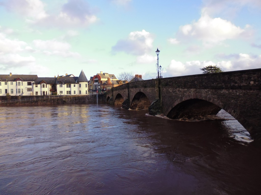 Bridge over the River Usk (look how high the water is!)