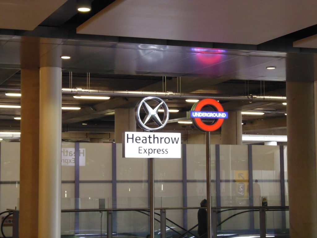 No way of getting lost - Underground and express train clearly indicated into LHR Terminal Two - the Queen's Terminal. Life Beyond Borders