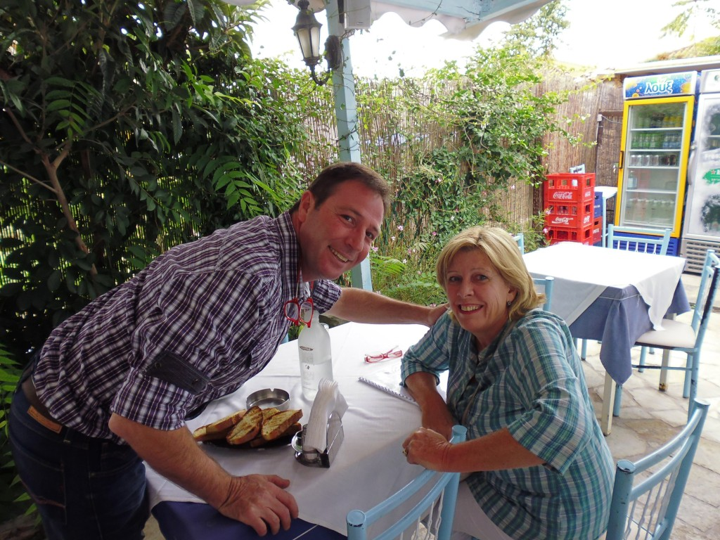 Janet and the owner of Xouneri taverna