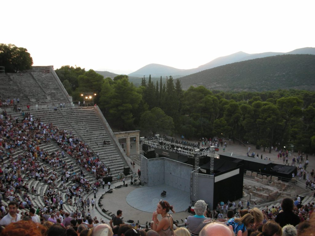 Epidaurus Ancient Theatre on performance day, near Nafplio