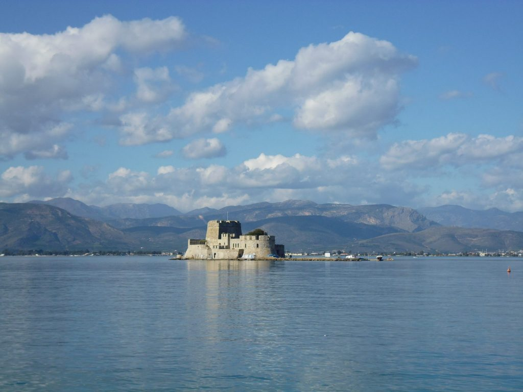 Bourtzi, the small Venetian fort on Agioi Theodoroi island - Nafplio. Athens to Nafplio Day Trip - LifeBeyondBorders