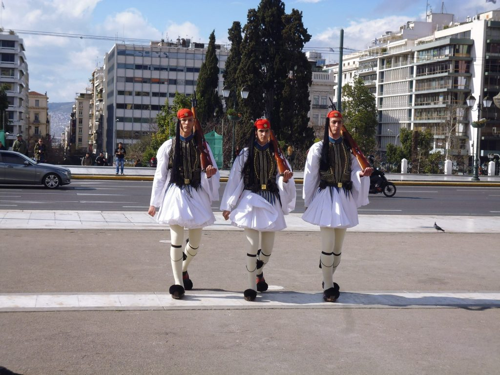 Evzones coming to the Greek Parliament - to guard the Tomb of the Unknown Soldier