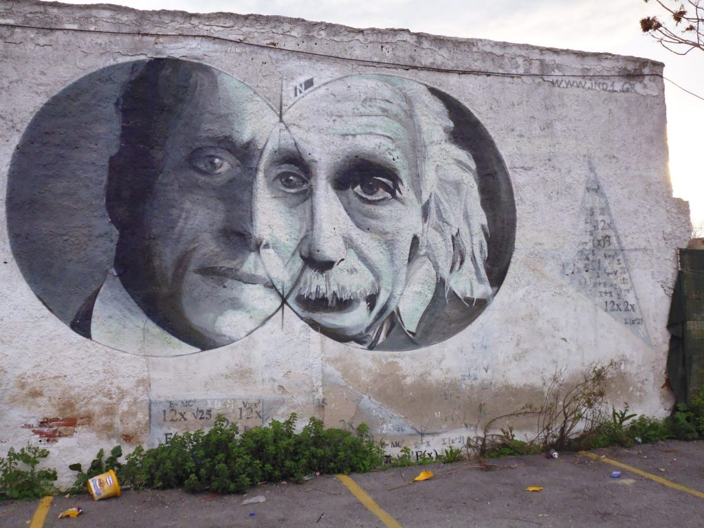 Gaz streetart - depicting a famous Greek mathematician combined with Einstein.