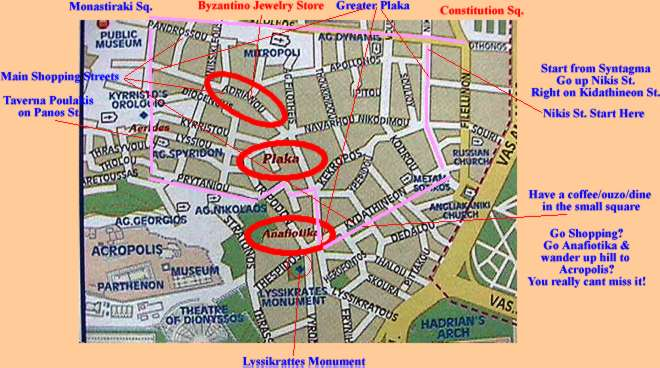 Map courtesy of: http://www.greeceathensaegeaninfo.com/h-athens/areas-of/plaka.htm