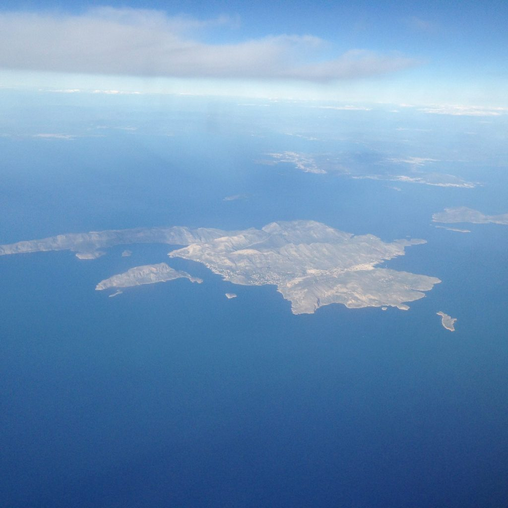View from Ryanair, flying towards Rhodes from Athens
