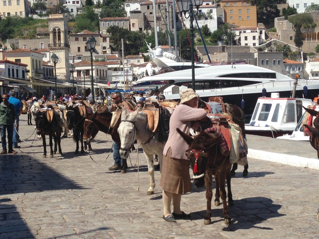 Locals with their donkeys on Hydra - Athens One Day Cruise