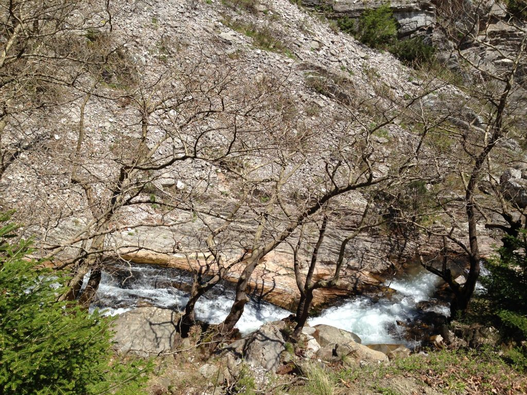 Water flowing through the Argafa Mountains, hiking from Montanema Handmade Village