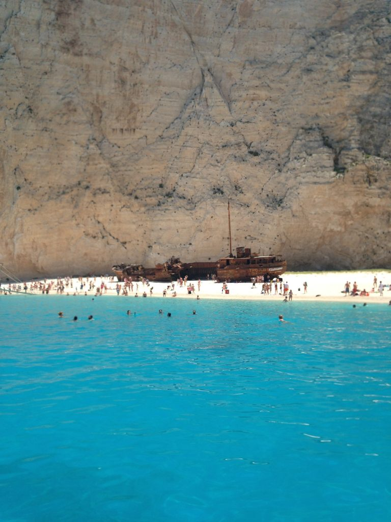 Approaching Navagio - or Shipwreck Beach in Zakynthos, Greece