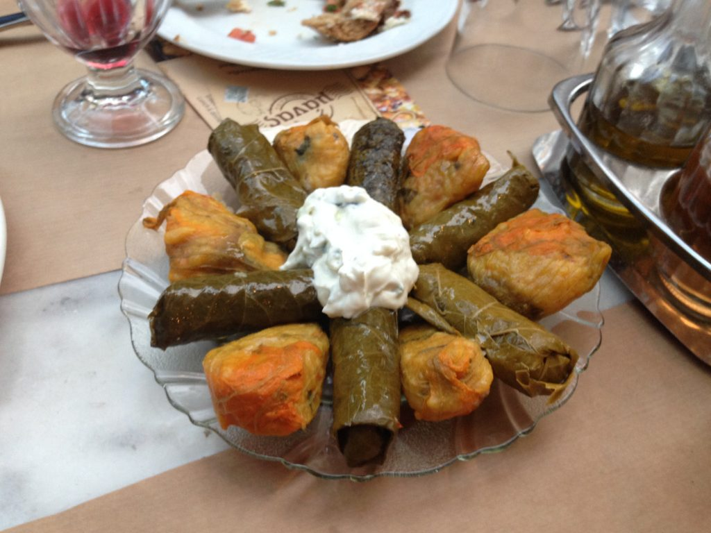 Dolmadakia stuffed grape leaves and flower of courgette with tzatziki