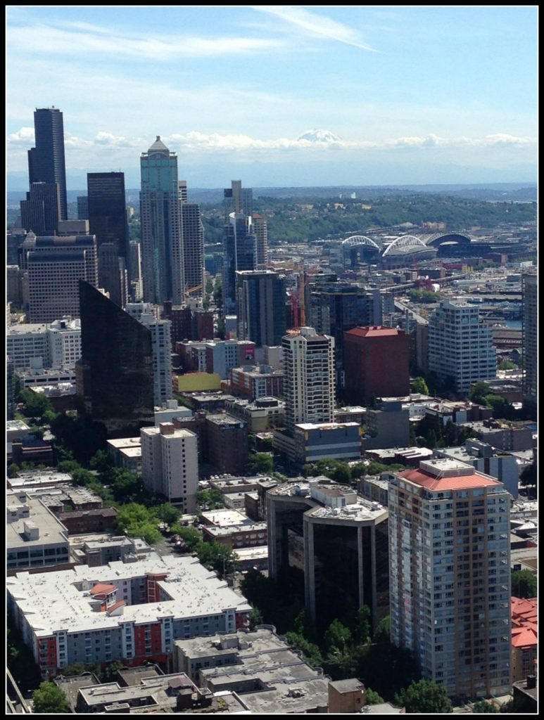 Downtown Seattle, U.S. with Mount Rainier in the background - LifeBeyondBorders