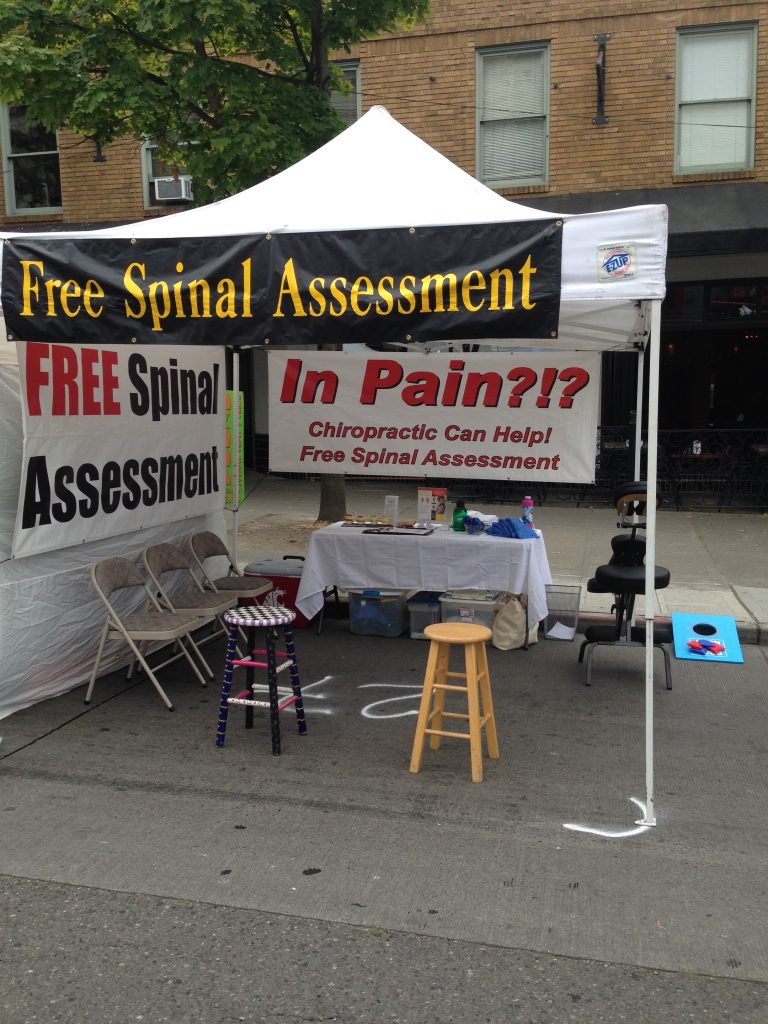 The resident Chiropractor - recognising that it pays to offer cheap treatments. Good marketing