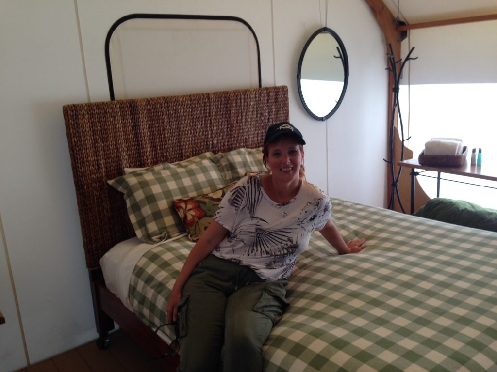 Excited to be in my canvas cabin, glamping at Lakedale Resort in San Juan Island