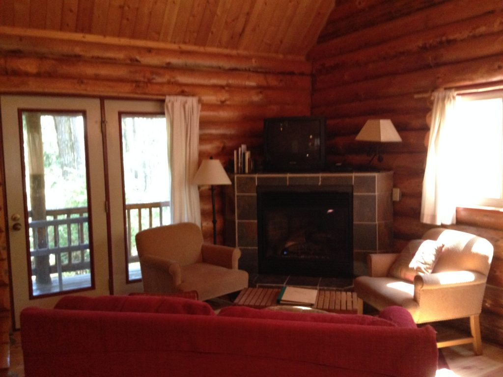 Interior of one of the Log Cabins at LakeDale Resort on San Juan Island