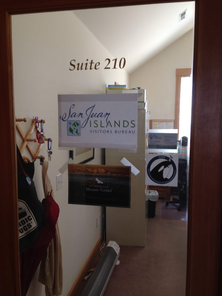 The tiny office of the San Juan Visitors Bureau - but they're there to help, and will gladly do so