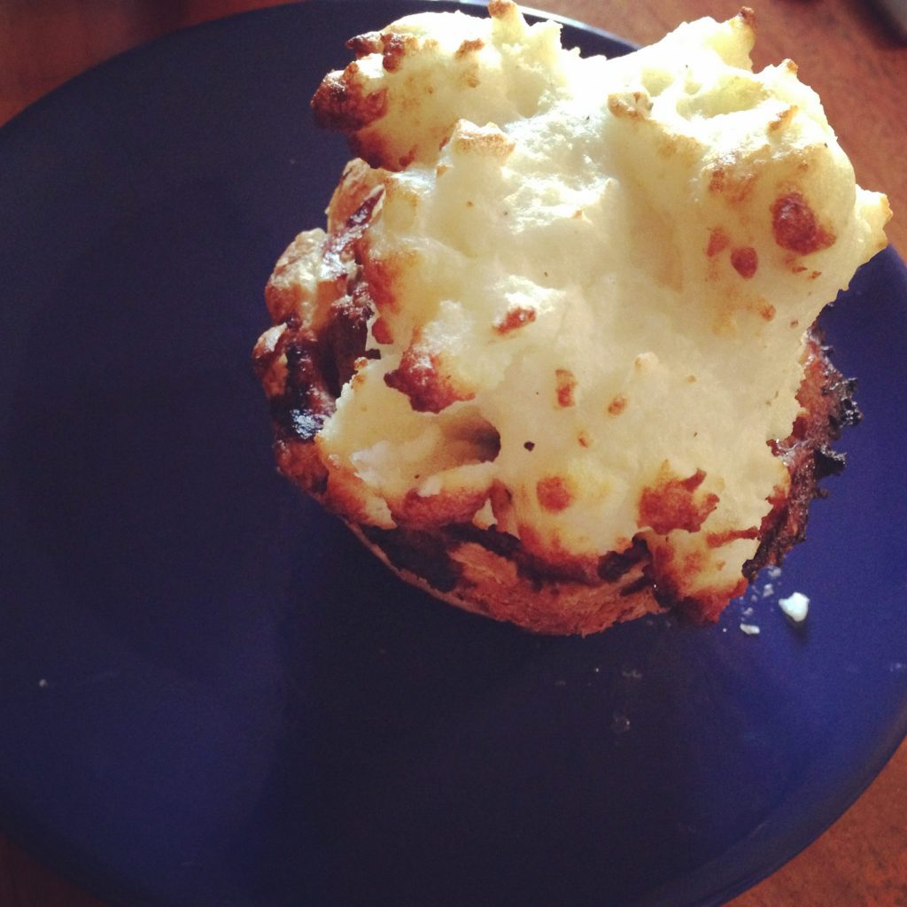 Meatloaf muffin with potato frosting at the Ripple Cafe, West Seattle
