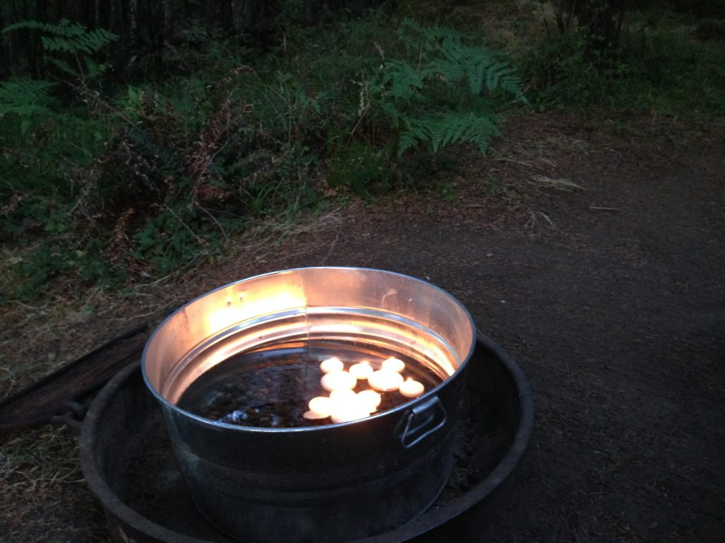 Floating candles look great at night at Wanderlust Campsite in Moran State Park - Orcas Island