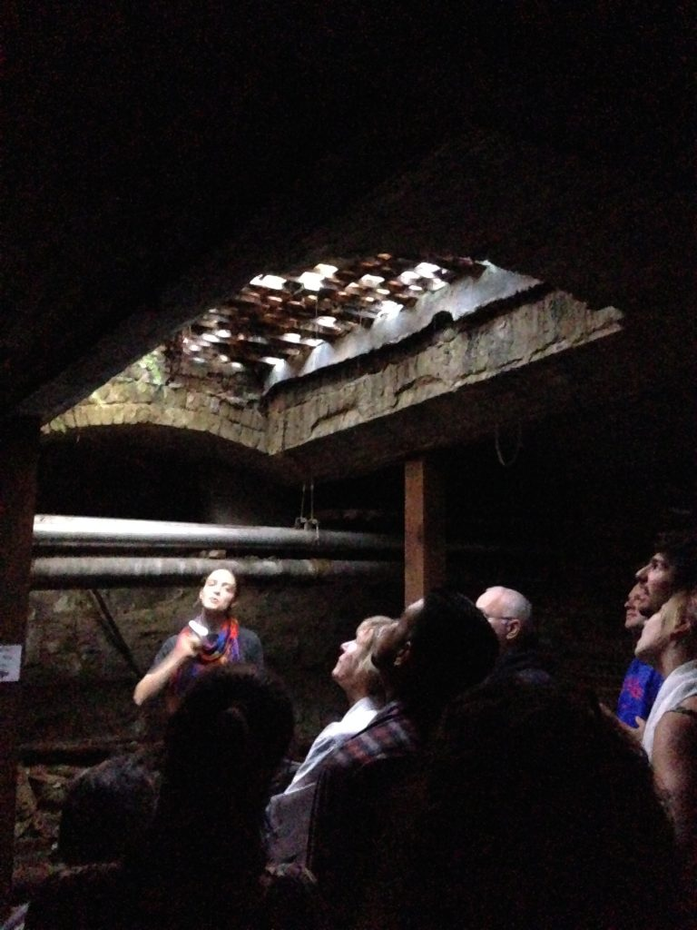 Standing under the glass with our tour guide on the Seattle Underground tour