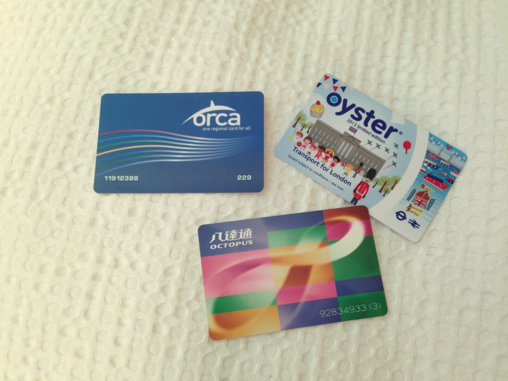Orcas (Seattle), Oyster (London) and Octopus (Hong Kong) transport cards