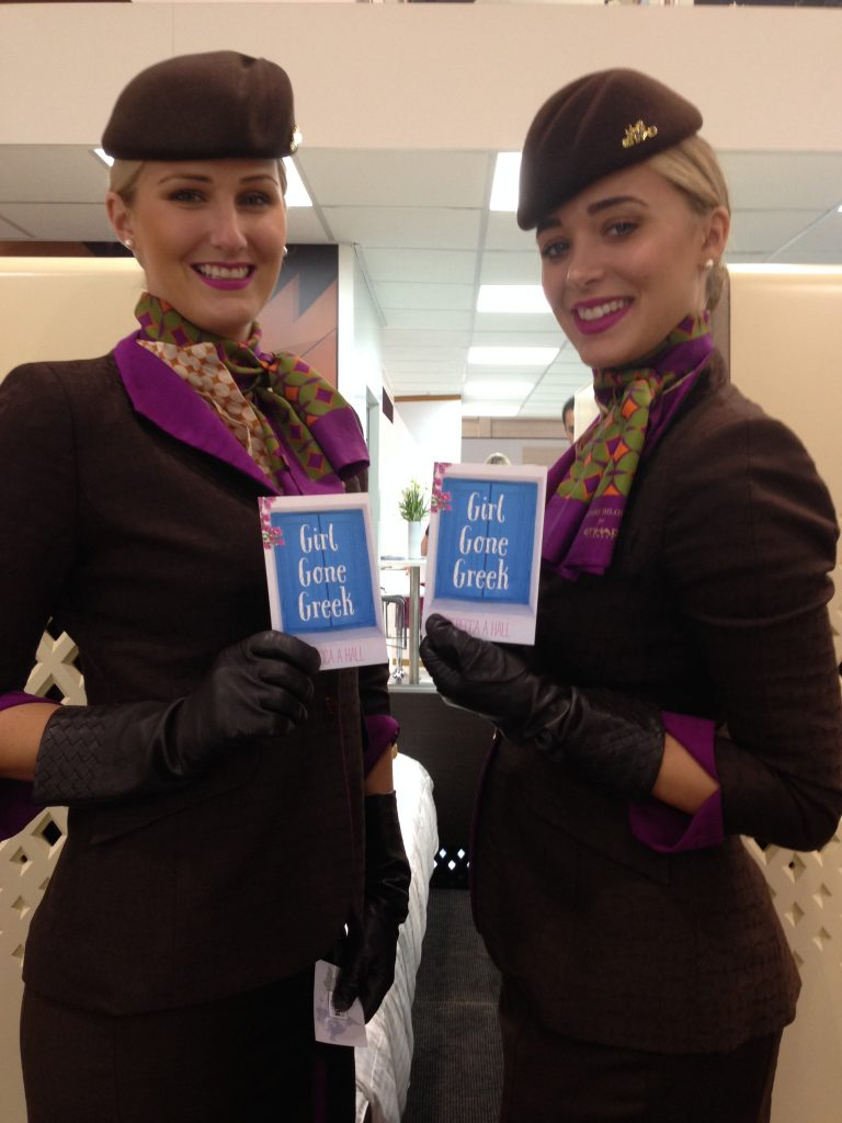 Etihad Crew support Girl Gone Greek (the cover sort of goes with their uniform)