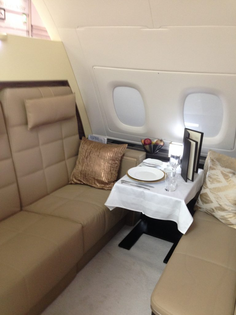Private Living Room with Dining Table in The Residence on Etihad Airways