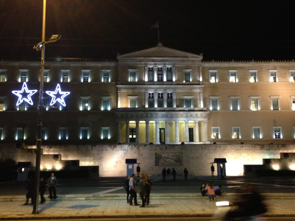 Christmas star outside Parliament building - Syntagma Square - Athens