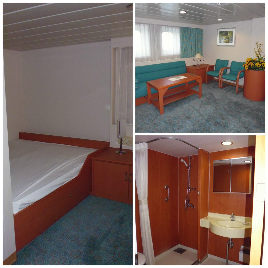 A cabin on board the container ship