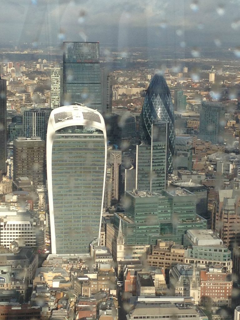 View from The Shard of The Walkie-Talkie building, with the Gherkin to the right in the City of London