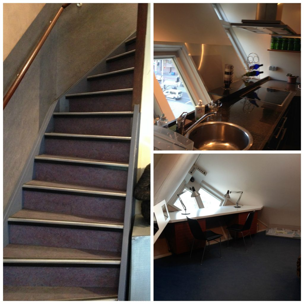 Steep stairs, Kitchen and Living are of Cubehouse