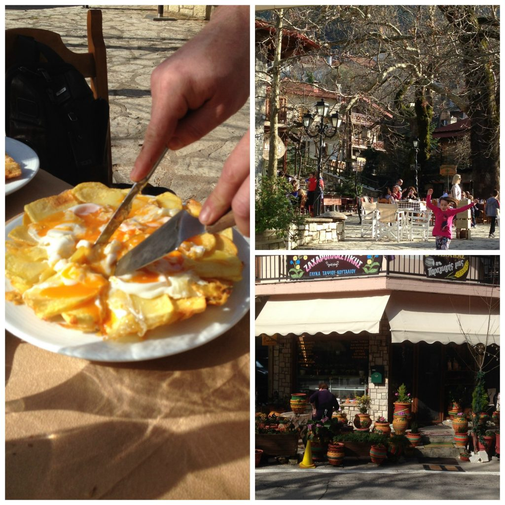 Delicious lunch at Nikos's Taverna - (fried eggs and potatoes) and the Town Square of Eptalofos, Greece. Life Beyond Borders