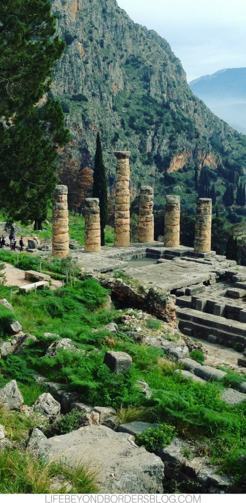 Beautiful views of the Archaeological site of Delphi in Greece