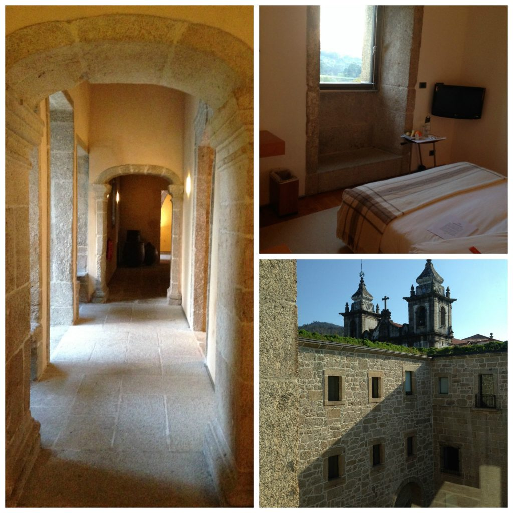 The corridor, bedroom and courtyard of Pousada Mosteiro de Amares in Portugal. Luxury accommodation. Life Beyond Borders