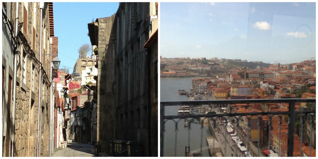 Streets of Villa Nova and looking back to Ribeira district