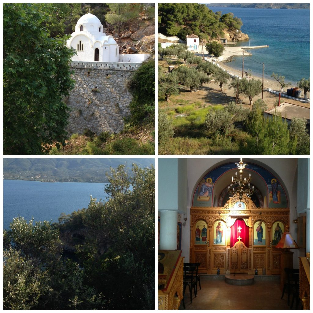 Chapel by the Monastery and Monastery Bay in Poros, Greece