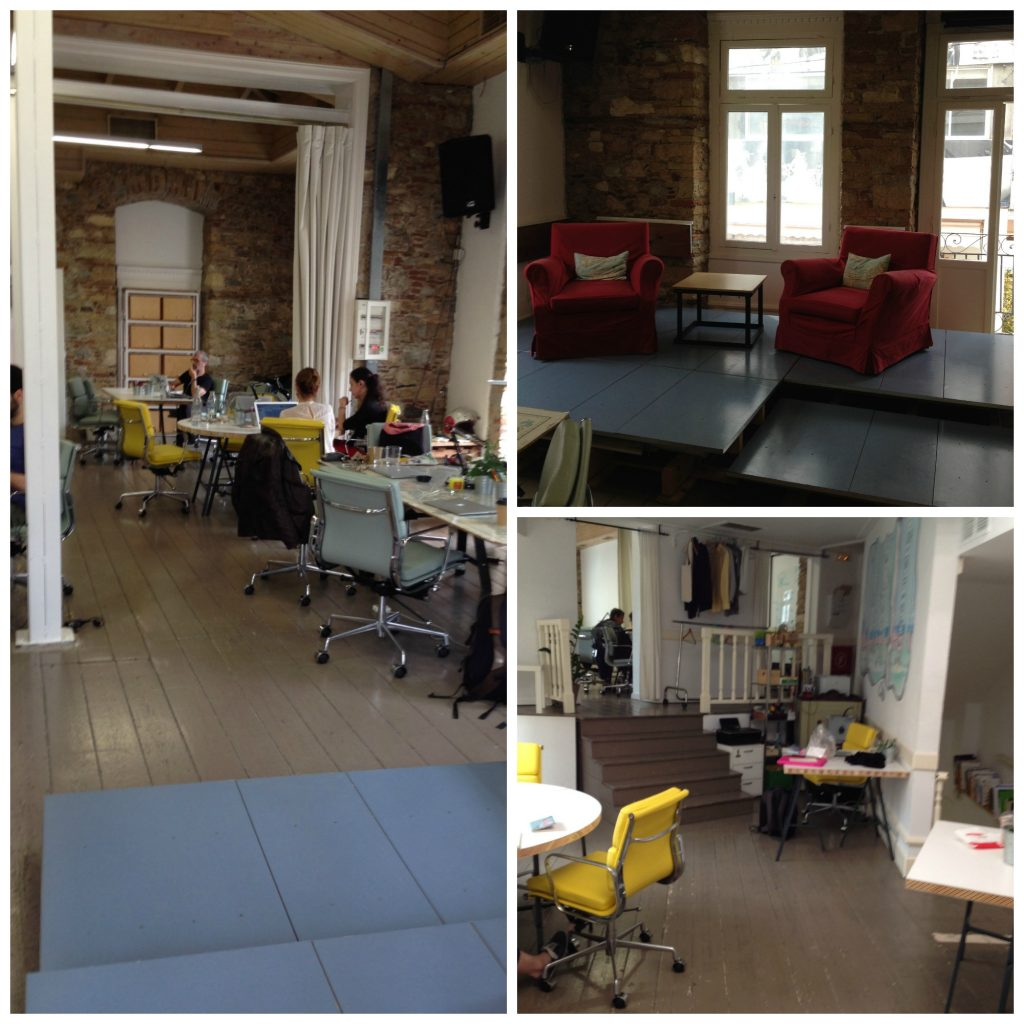 Co-working space inside Impact Hub Athens
