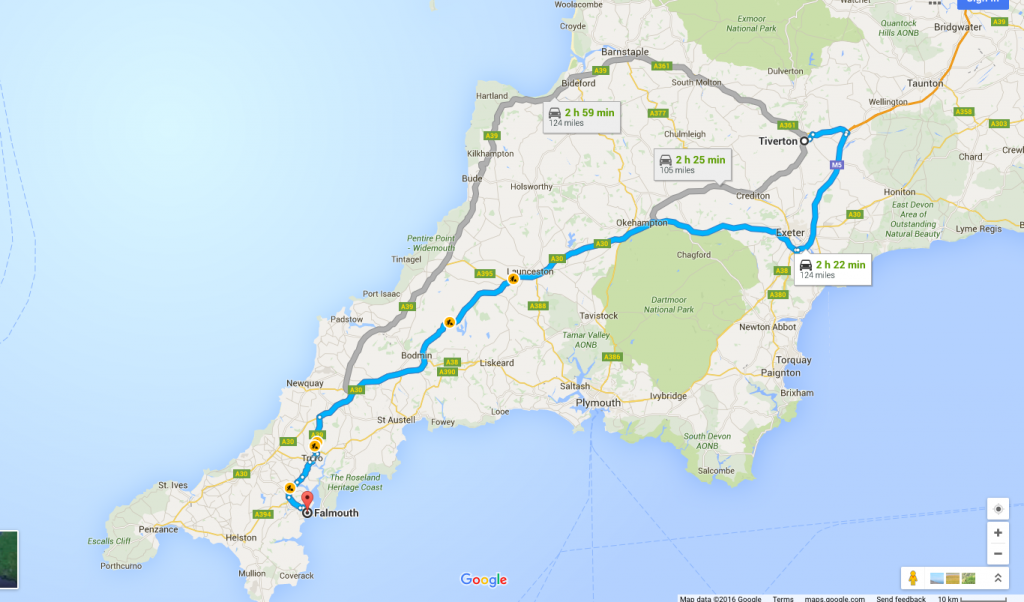 Route from Tiverton, Devon to Falmouth, Cornwall