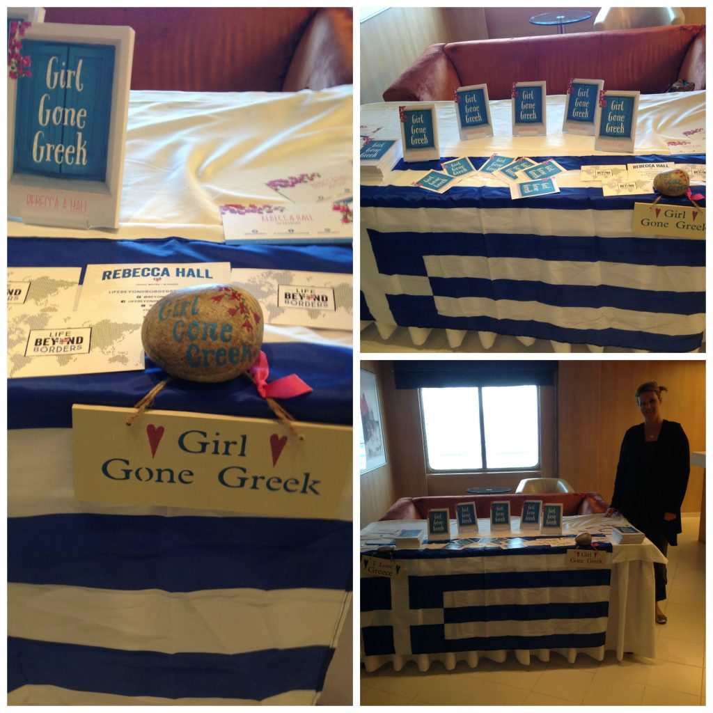 Girl Gone Greek book display on Celestyal Cruises